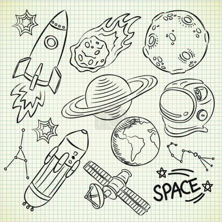 Illustration for Space doodle set - Royalty Free Image