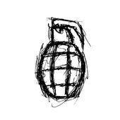 Grunge grenade in doodle style