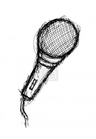 Vintage microphone in sketchy style