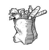 Hand drawn grocery bag