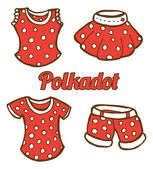 Set of girl clothing icon in doodle style