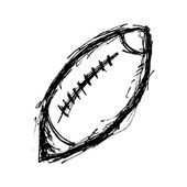 Rugby ball in doodle style