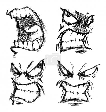 Set of angry face doodle