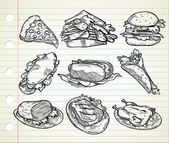 Set of hand drawn junk food icon