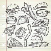 Set of various food in sketchy style