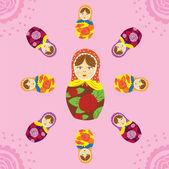 Russian Matryoshka doll seamless pattern