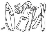 Extreme game equipment in doodle style