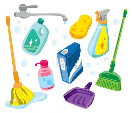 Illustration for Cleaning kit icons - Royalty Free Image
