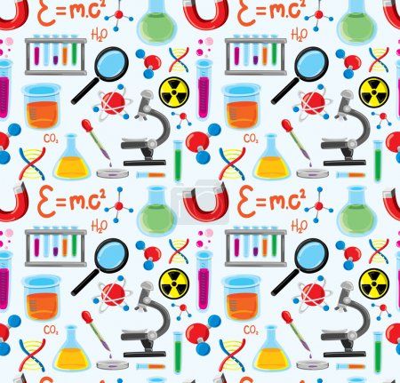 Illustration for Laboratory equipment seamless background - Royalty Free Image