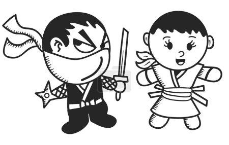 Male and female ninja cartoon
