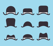 Set of vintage classic hat icon