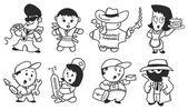 Various cartoon character