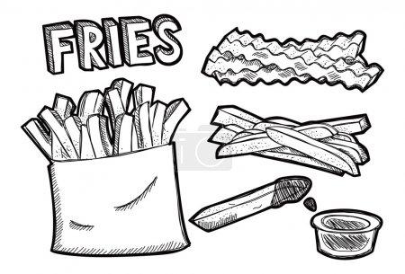 Illustration pour Frites doodle - image libre de droit