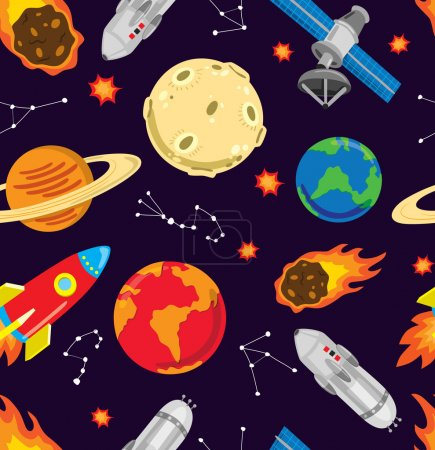 Illustration for Cartoon space object background - Royalty Free Image