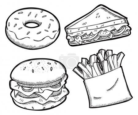 Illustration pour Ensemble d'illustration de collation isolé sur fond blanc - image libre de droit