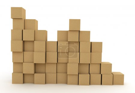 Photo for Pile of cardboard boxes over white background. 3d illustration - Royalty Free Image