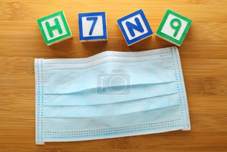 Photo for H7N9 alphabet block with protective face mask - Royalty Free Image