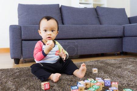 Baby boy play toy block