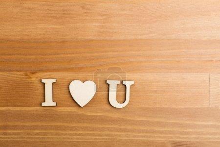 I Love You wooden letter