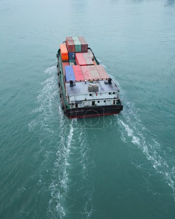 Aerial view of Cargo vessel