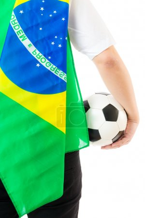 Brazil supporter with soccer ball