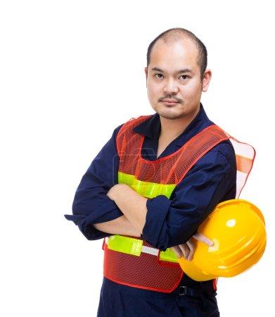 Photo pour Casque d'ouvrier de chantier - image libre de droit