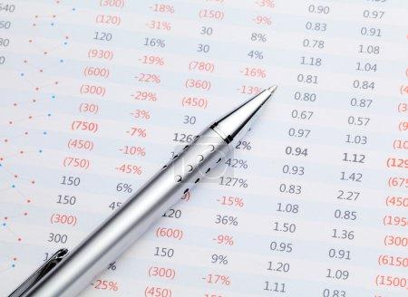 Data spreadsheet and pen