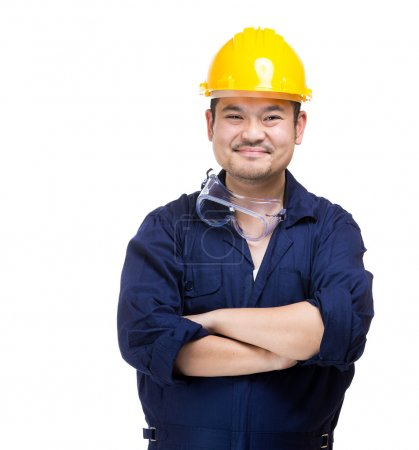 Happy asian construction worker