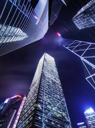 Skyscraper in Hong Kong from low angle at night