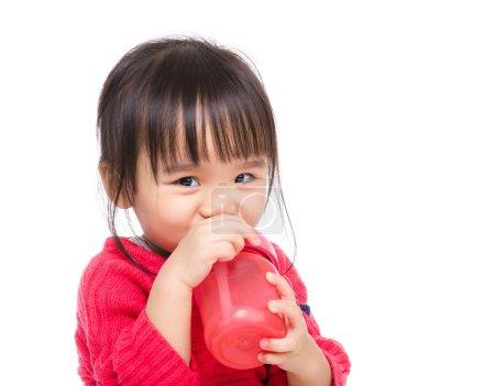 Asia little girl drinking water bottle
