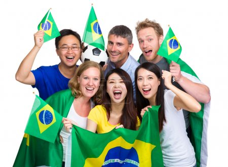 Group of happy brazilian soccer fan