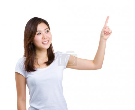 Woman pointing up with forefinger