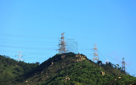 High voltage tower on mountain
