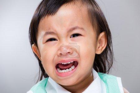 Multiracial baby girl cry