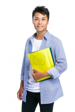 Young man hold file pad