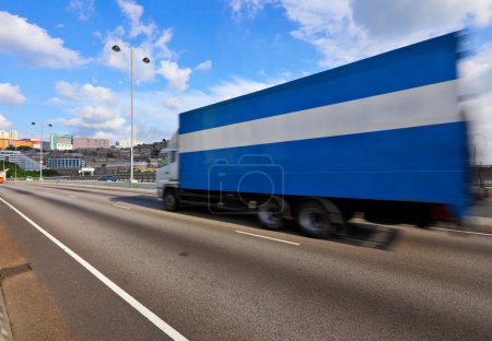 Photo for Container truck on highway - Royalty Free Image