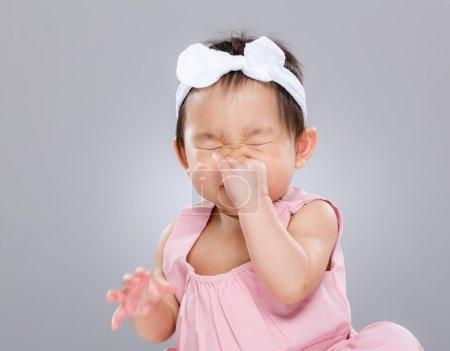 Baby girl sneeze