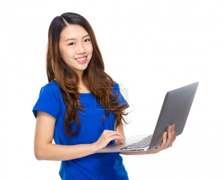 Young woman use laptop