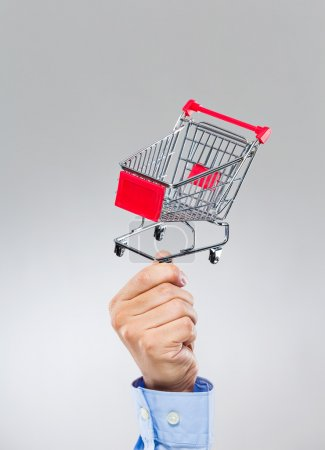 Businessman hold with small shopping cart