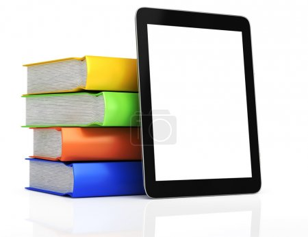 Tablet computer and stack of books