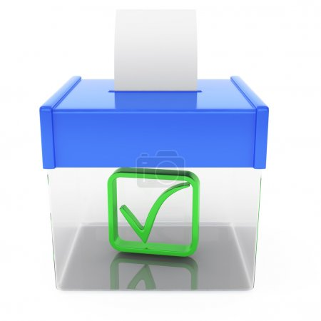 Ballot box isolated on white background. 3d render...