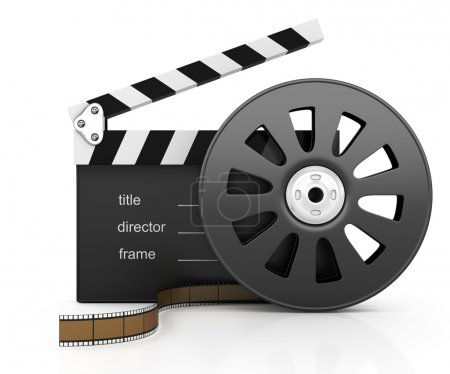 Clapper board and filmstrip