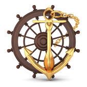 Lodní kormidlo a zlatá kotva