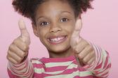Happy Girl Giving Double Thumbs Up