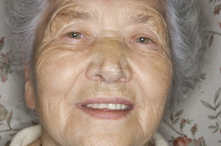 Extreme Closeup Of Senior Woman's Face