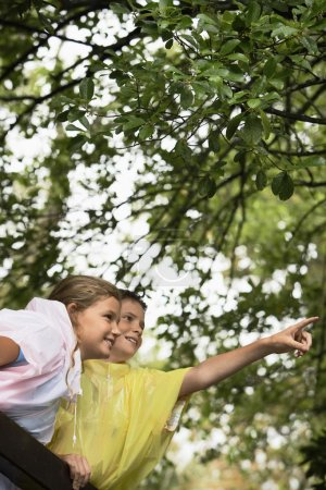 Photo for Happy boy and girl on nature field trip - Royalty Free Image