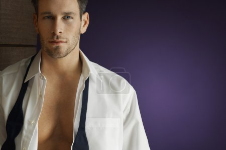 Man Wearing Unbuttoned Shirt