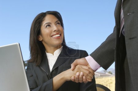 Businesswoman Shaking Hand With Colleague
