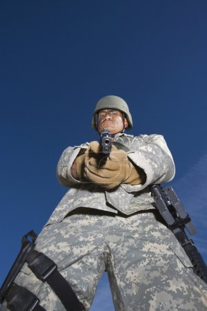 Portrait Of Soldier Aiming