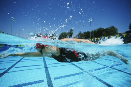 Swimmer Practicing Before A Competition